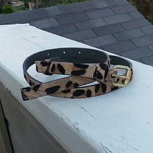 Tan Leopard print skinny leather belt